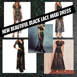 Dresses & Skirts - NEW Black Maxi Lace Embroidered Strapless Dress